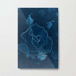 blue rose contour Metal Print