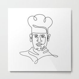 Chef Wearing Toque Hat Continuous Line Metal Print