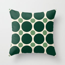 Big Dark Green and Small Light Green Circles Throw Pillow