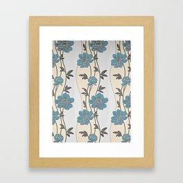 Greenish Blue Flower Garland Framed Art Print