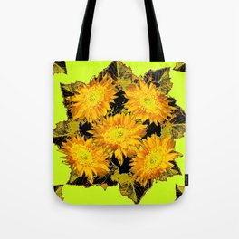Decorative Chartreuse Golden Flowers Leaves Black Art Tote Bag