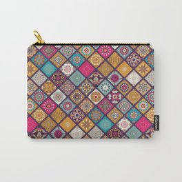 Flowers In Squares Pattern Carry-All Pouch