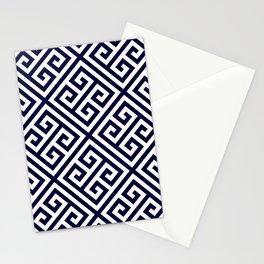 Greek Key Navy Blue And White Diagonal Pattern Stationery Cards