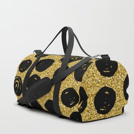 Hand Drawn Black Circle on Golden Background Duffle Bag