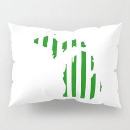 Green and White Michigan Pillow Sham