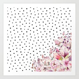 Boho Blush Flowers and Polka Dots Kunstdrucke