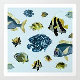 Tropical Fish Pattern - Coastal Beach Art Print