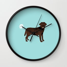Chocolate Lab funny fart dog breed gifts labrador retrievers Wall Clock