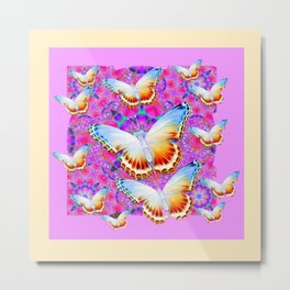 EXOTIC ORIENTAL BUTTERFLIES PINK-YELLOW ART Metal Print