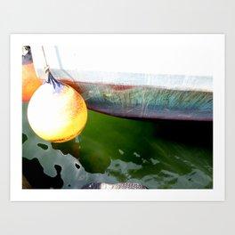 Colorful Hull Old Fishing Boat Art Print