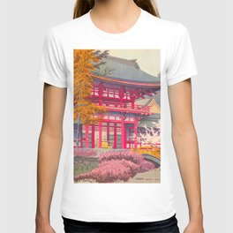 Japanese Woodblock Print Vintage Bright East Asian Red Pagoda Spring Garden T-shirt