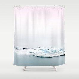 Beautiful glacier lagoon winter Shower Curtain