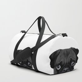 Black Pug, Original painting by miart Duffle Bag