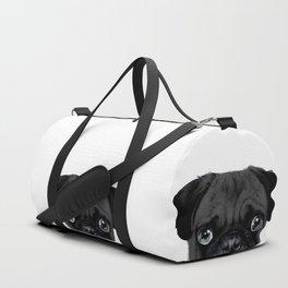 Black Pug, Original painting by miart Duffle Bag