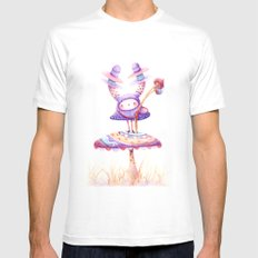 In The Land Of Magic Mushrooms White MEDIUM Mens Fitted Tee