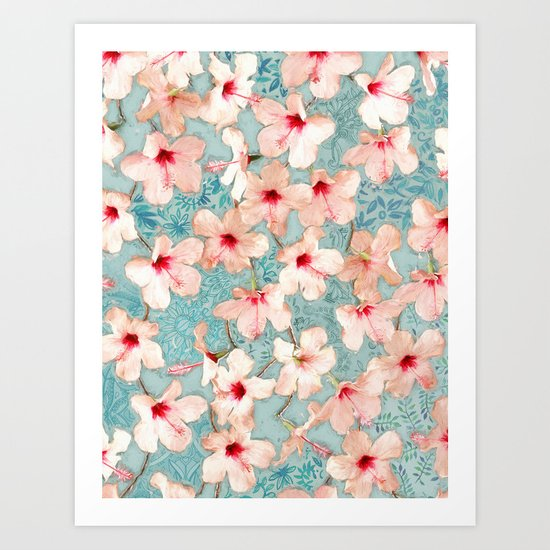 Shabby Chic Hibiscus Patchwork Pattern in Peach & Mint Art Print