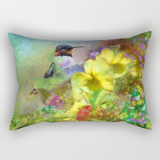 Hummingbird Bouquet Rectangular Pillow
