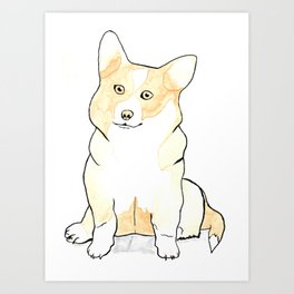 Corgi Coffee Painting Art Print