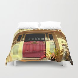 Stage Door - 1889 - No Soliciting Duvet Cover
