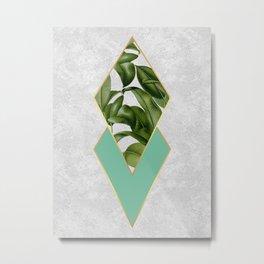 Leaves on marble Metal Print