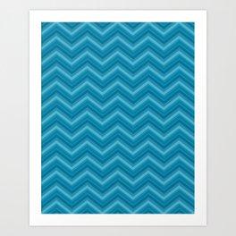 Teal Chevron Pattern Art Print