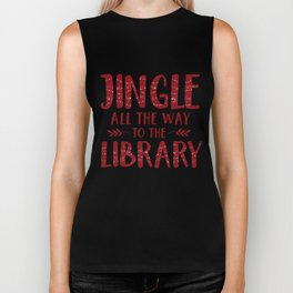 Jingle All The Way To The Library (Red) Biker Tank