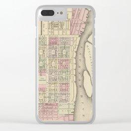 Vintage Savannah GA Map (1884) Clear iPhone Case
