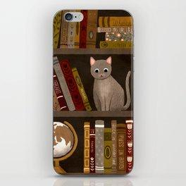 cat bookshelf iPhone Skin