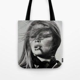 Brigitte Bardot Smoking a Cigarette, Black and White Photograph Tote Bag