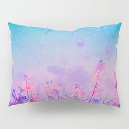 Spring Purple Dream (Neon Pink Wildflowers, Indigo Sky) Pillow Sham