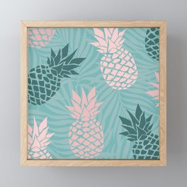 Tropical Pineapple and Palm Leaf Pattern, Teal and Pink Framed Mini Art Print