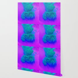 TEAL BLUE GREEN PURPLE SMOKE INK WATER Wallpaper