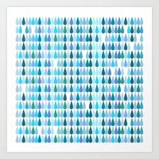Blue water drops Art Print