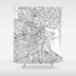 Dublin White Map Shower Curtain
