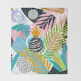 abstract palm leaves Throw Blanket