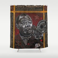 louis armstrong Shower Curtains featuring Louis Armstrong by Ray Stephenson