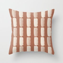 Sherwin Williams Creamy Off White SW7012 Grid Brushstrokes on Cavern Clay SW 7701 Throw Pillow