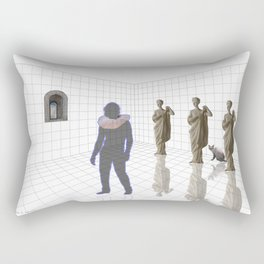 Man in a room with statues and cats_ Rectangular Pillow