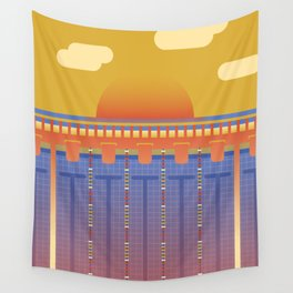 Pool Sunset Wall Tapestry