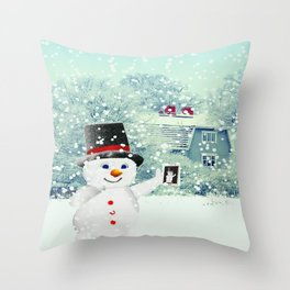 Snowman Selfie Throw Pillow