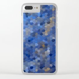 Blue mosaic tile abstract Clear iPhone Case