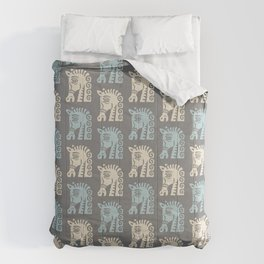 Mid Century Horse Pattern Grey Blue and Beige Comforters