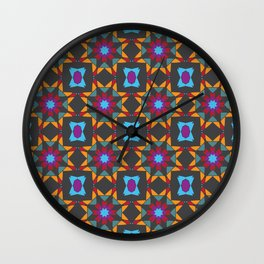 Stars and squares kaleidoscope Wall Clock
