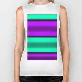 Purple & Mint Horizontal Stripes Biker Tank