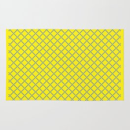 Yellow blue square Rug