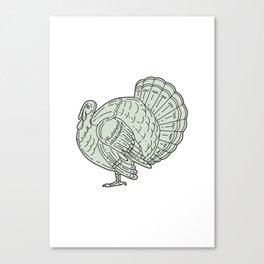 Wild Turkey Side Mono Line Canvas Print