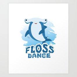 Floss Dance Move Hammerhead Shark Art Print