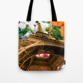 Eiffel Tower On A Bed Of Decorative Flowers Tote Bag