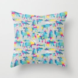 Splashy woodland watercolor Throw Pillow
