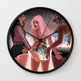 Hip Hop in the Summer - Lana Inspired Digital Trio of Woman Drawing Wall Clock